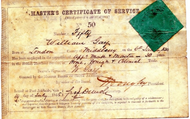 Master Mariners Certificate