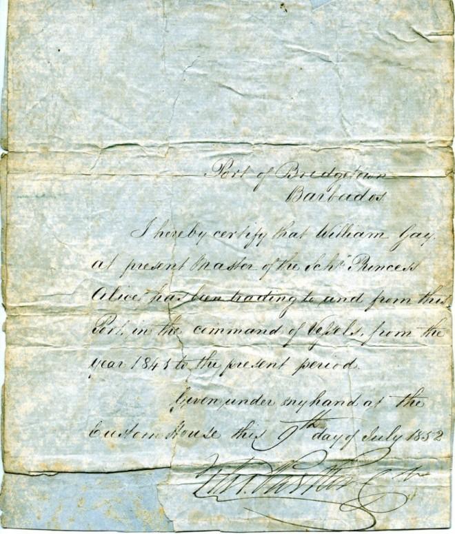 Certificate of Pilotage Barbados