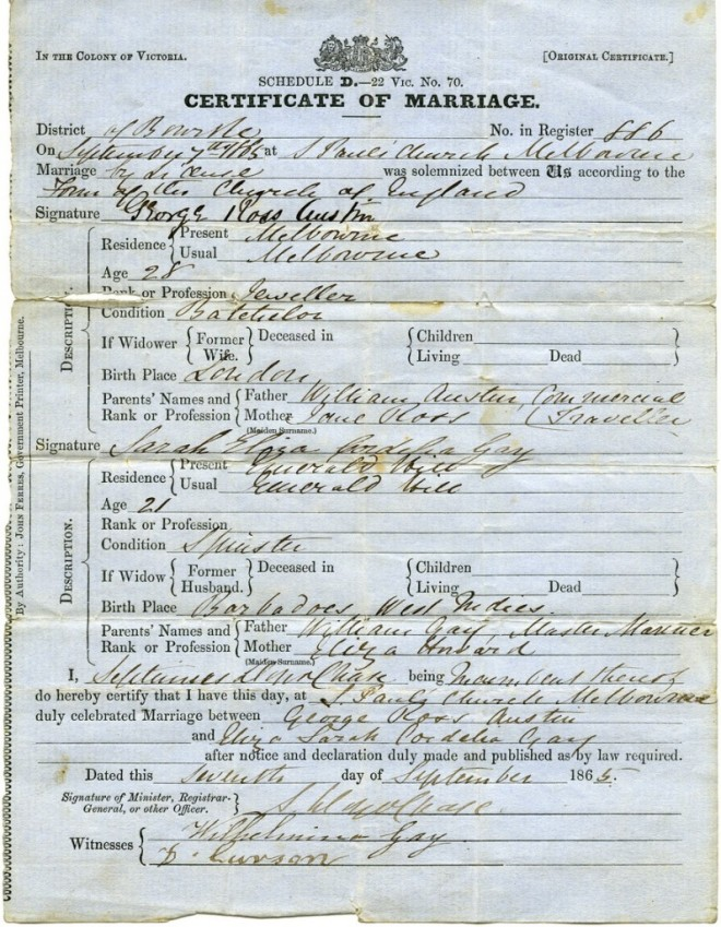 Sarah Cordelia Eliza Gay Marriage Certificate