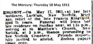 Mary Ann Kingshott 1911 death