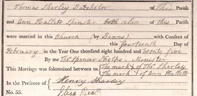 Thomas Sharley and Ann Hallett Marriage.