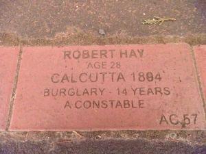 On the convict trail - brick in the path. Tasmania