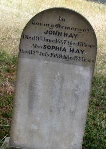 John & Sophia Hay Gravestone