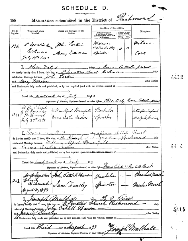 John Lorkin and Mary Donovan Marriage Certificate