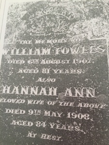 William and Hannah Headstone engraving