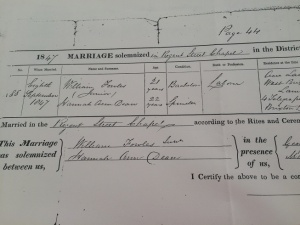 WIlliam and Hannah Marriage Certificate